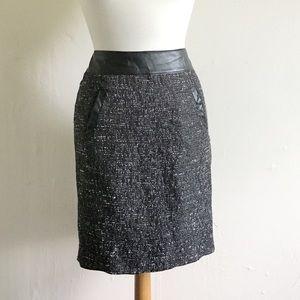 Halogen Tweedy Faux Leather Trim Pencil Skirt